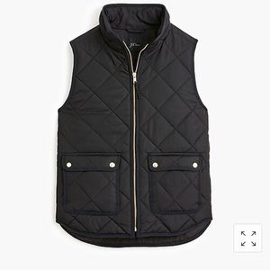 NWT J. Crew Black Excursion Puffer Vest Size Med
